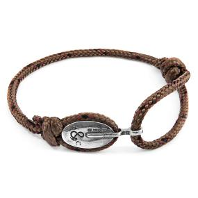 BRACELET LONDON ARGENT ET CORDE MARRON