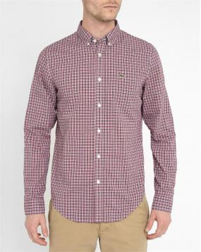 Chemise Check Rouge Col Boutonn