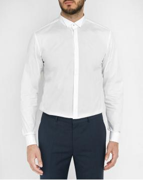 Chemise Evening Popeline Blanche Col Cass