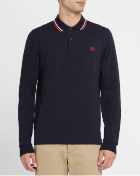 Polo Classic Slim Fit Manches Longues Bleu Marine