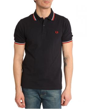 Polo Slim fit marine col Blanc et Rouge