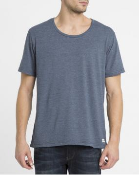 Tshirt Basic Open Neck Crew Bleu